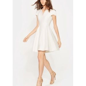 Halston Heritage Structured Faille Dress Chalk 0